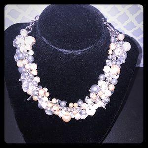 Chico's Pearl Cluster Bib Necklace